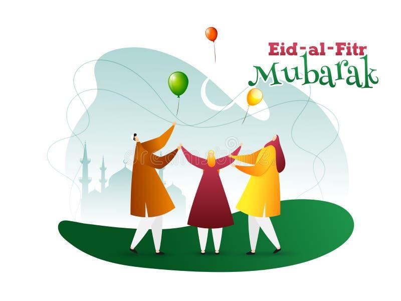 Illustration von arabischen M?nnern vor Moschee mit stilvollem Kalligraphietext Eid al-Fitr Mubarak f?r moslemische Gemeinschaft, lizenzfreie abbildung