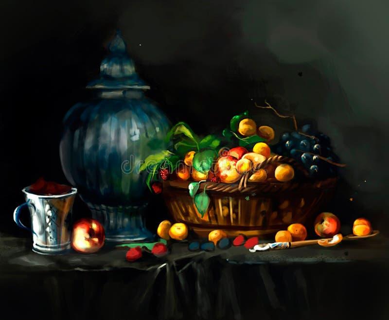 Illustration von Beeren auf dem Tisch stock abbildung