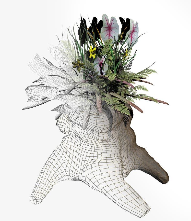 Illustration von Blumen in einem Baumstumpf lizenzfreie stockbilder