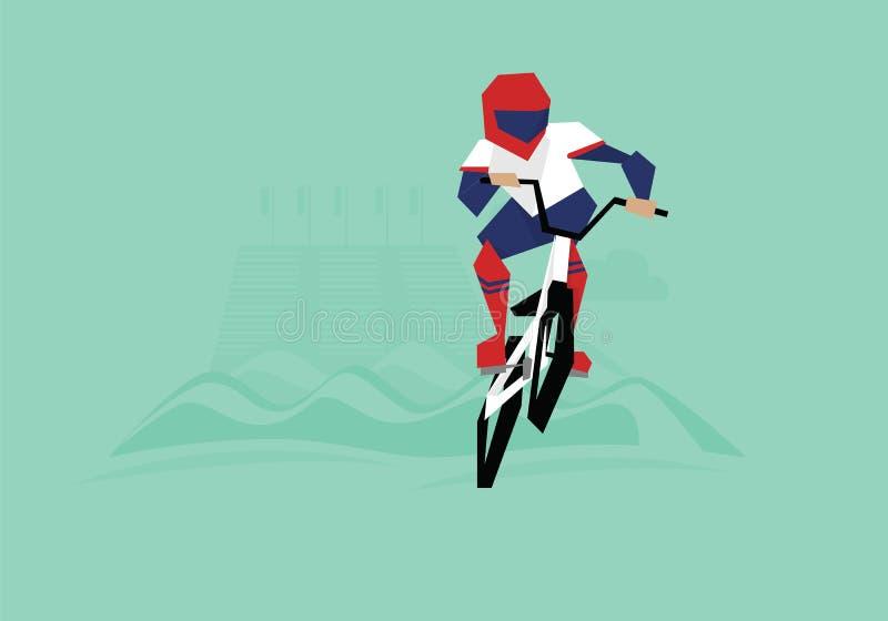Illustration von BMX-Radfahrer konkurrierend im Ereignis stock abbildung