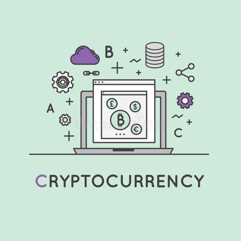 Illustration von Cryptocurrency als alternativer Digital-Währung lizenzfreie abbildung