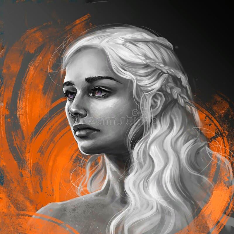 Illustration von Daenerys vom SPIEL von Thronen vektor abbildung