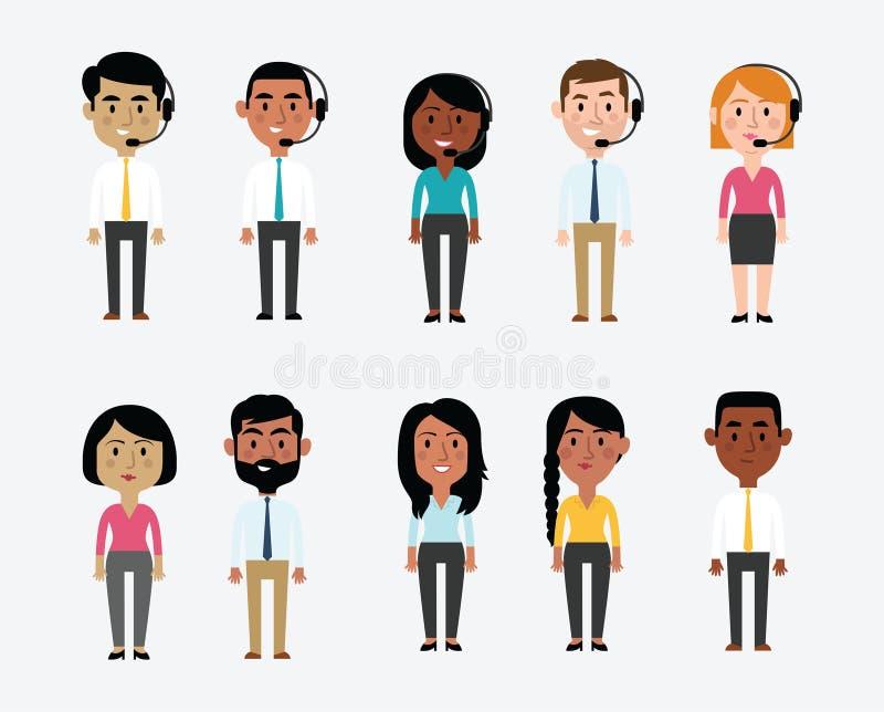 Illustration von den Charakteren, die Büro-Besetzungen darstellen stock abbildung