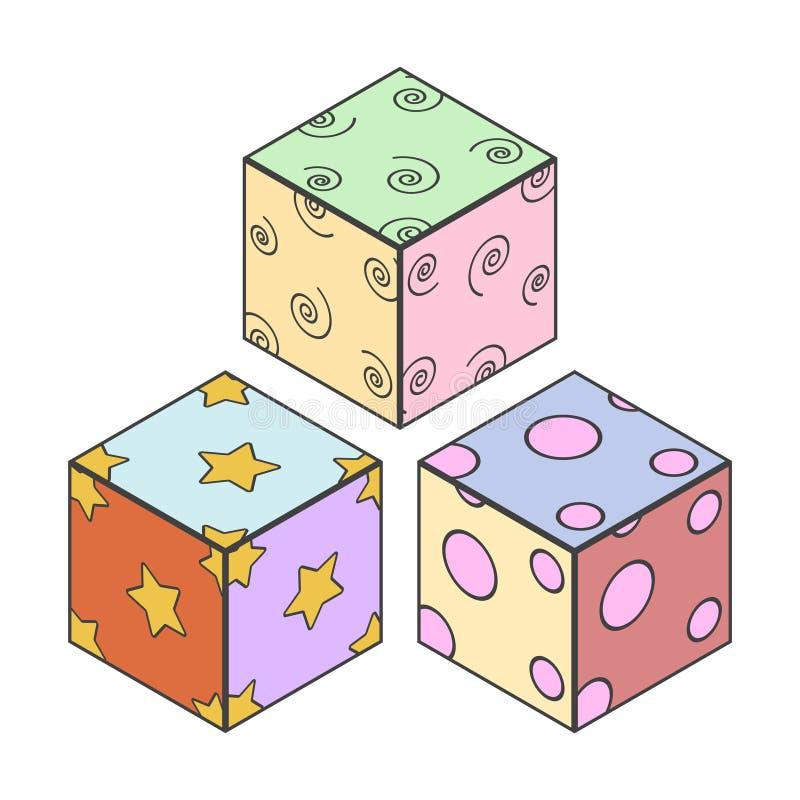 Illustration von den drei Würfeln der Kinder mit mehrfarbigen Seiten und verschiedenen Mustern Lokalisierter Vektor auf weißem Hi stock abbildung