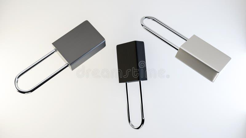Illustration von den einfachen silbernen frei schwebenden Stahlvorhängeschlössern lizenzfreies stockbild