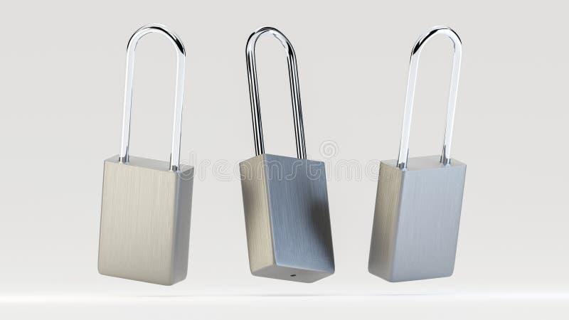 Illustration von den einfachen silbernen frei schwebenden Stahlvorhängeschlössern stockfotografie