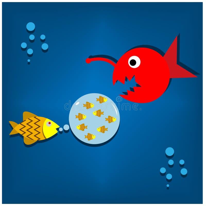 Illustration von den Fischen, die ihr Kind vor Fleischfressern schützen Taube als Symbol der Liebe, pease lizenzfreie abbildung