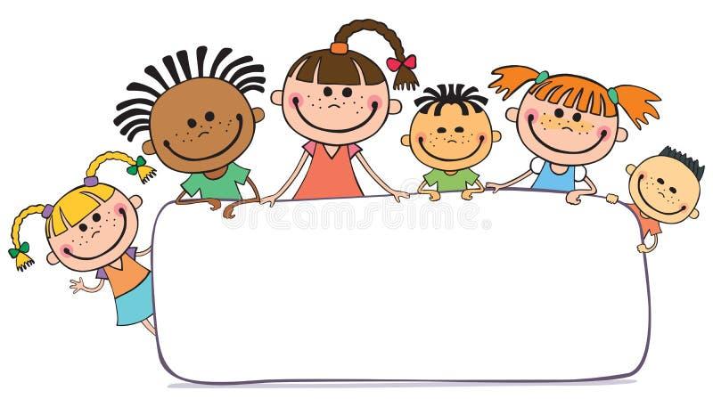 Illustration von den Kindern, die hinter Plakat lugen stock abbildung