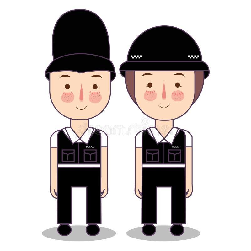Illustration von den Kindern, die Polizei tragen, britisches BRITISCHES Kostüm Vereinigten Königreichs zu fangen Vektorzeichnungs stock abbildung