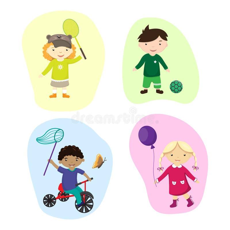 Illustration von den Kindern, die Sport spielen lizenzfreie abbildung
