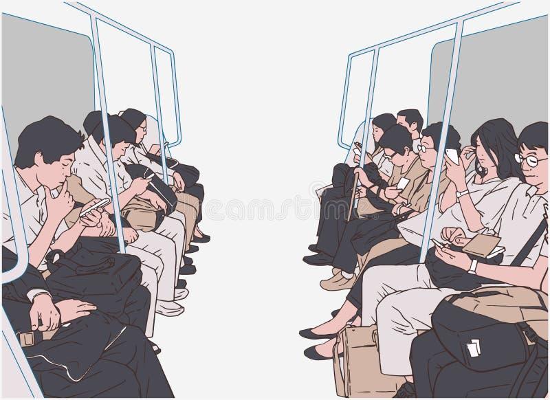 Illustration von den Leuten, die öffentliche Transportmittel, Zug, U-Bahn, Metro verwenden stock abbildung