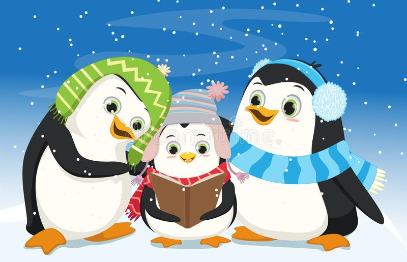 Illustration von den netten Pinguinen, die Weihnachten Carol singen lizenzfreie abbildung