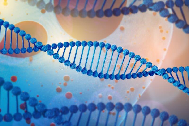 Illustration von DNA-Molekül Das schraubenartige Molekül in der Umwelt des Organismus Genetisch geändert vektor abbildung
