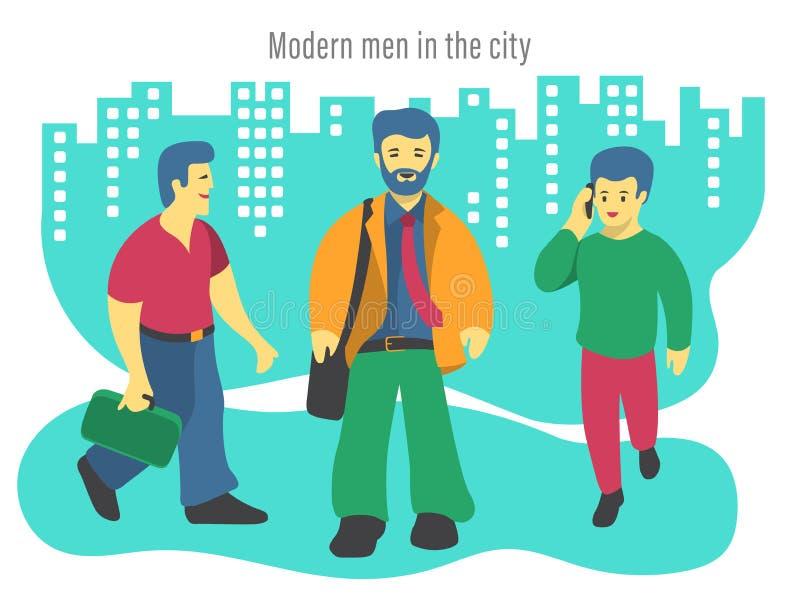 Illustration von drei modernen Männern in der Stadt lizenzfreie abbildung
