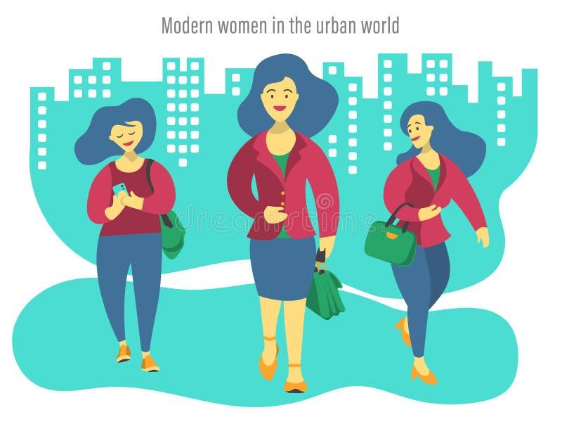 Illustration von drei modernen Männern in der Stadt stock abbildung