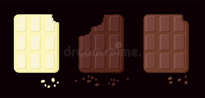 Illustration von drei Vielzahl der gebissenen Schokolade Gegenstände lokalisiert auf einer Schicht Vektor-Nahrung für Karten, Anw lizenzfreie abbildung