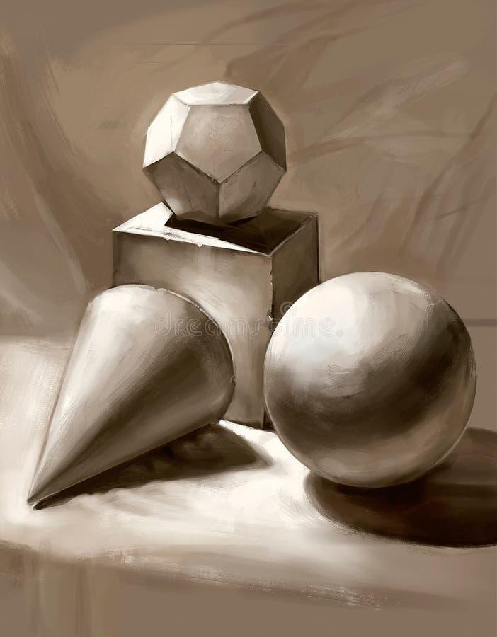Illustration von dreidimensionalen geometrischen Formen lizenzfreie abbildung