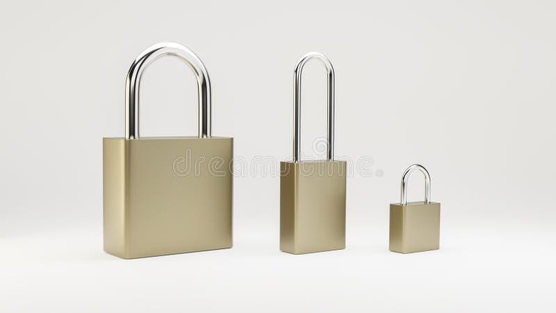 Illustration von einfachen Stahlvorhängeschlössern lizenzfreie stockfotos