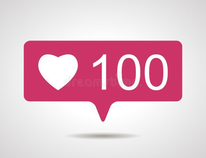 Illustration von flach Rosa hundert wie Herzsocial media-Ikone O lizenzfreie abbildung