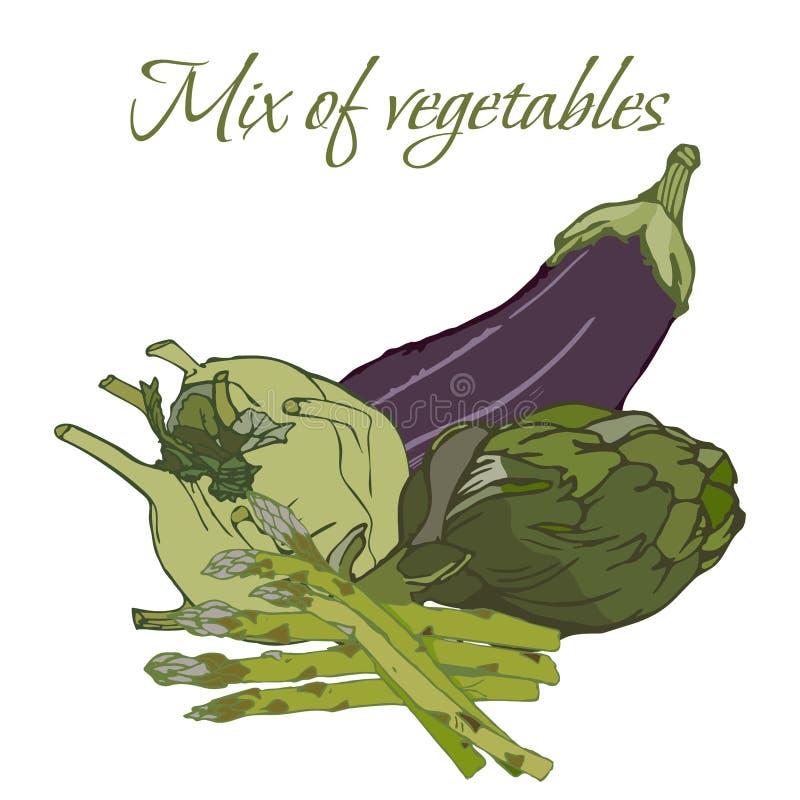 Illustration von geschmackvollen Veggies stockfotos