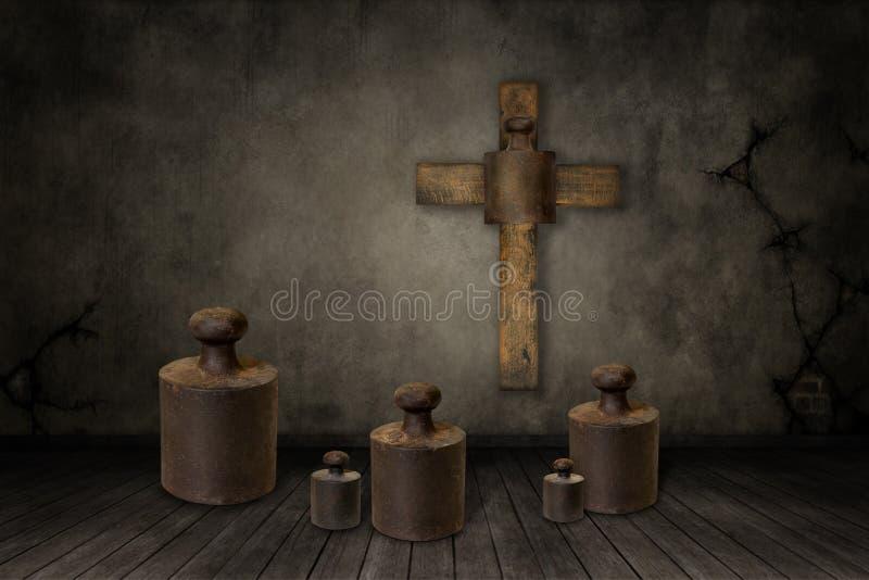 Illustration von Gewichten unter dem Kreuz lizenzfreies stockfoto