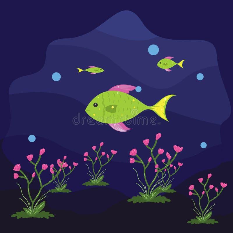 Illustration von glücklichen Fischen im Ozean Fische unterseeisch vektor abbildung