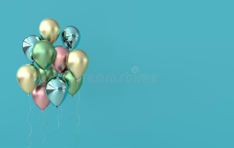 Illustration von glatten bunten und goldenen Ballonen auf farbigem Pastellhintergrund Leerer Raum f?r Geburtstag, Partei, F?rderu lizenzfreie abbildung