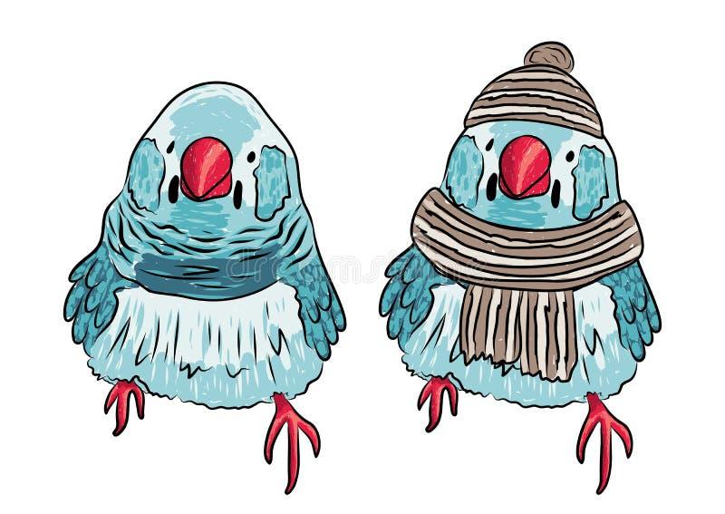 Illustration von gleichen warmen angekleidet des Vogels und ausgezogen stock abbildung