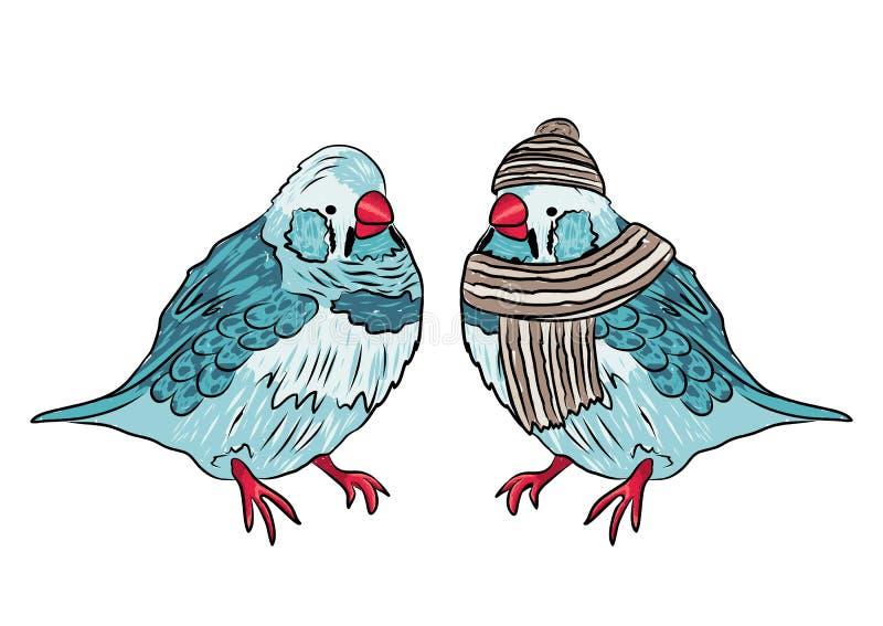 Illustration von gleichen warmen angekleidet des Vogels und ausgezogen vektor abbildung