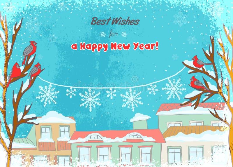 Illustration von Grüßen eines Winters mit roten Vögeln eines Winters auf Bäumen und einer Schneeflockendekoration lizenzfreie abbildung