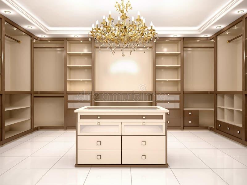 Illustration von großem leeren Weg in der Garderobe im luxuriösen Haus lizenzfreie abbildung