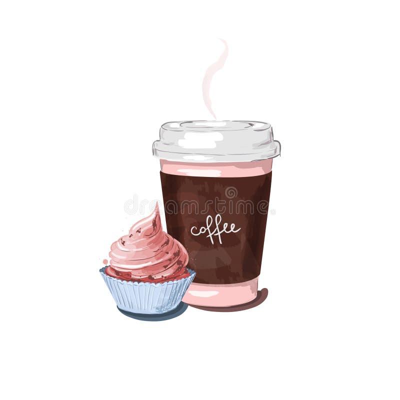Illustration von lokalisierte einen Tasse Kaffee und netten einen Schalenkuchen stock abbildung