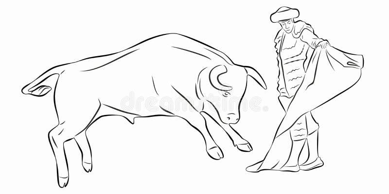 Illustration von Matador und von Stier, Vektorabgehobener betrag vektor abbildung
