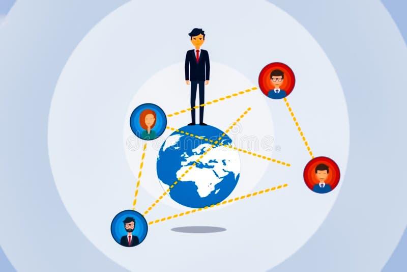 Illustration von menschlichen digitalen Kommunikationen Kommunikation von Leuten auf Kugel lizenzfreie abbildung