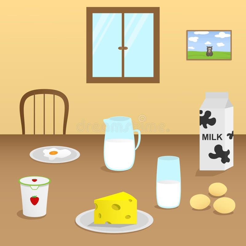 Illustration von Milchprodukten auf einem Holztisch im Esszimmer stock abbildung