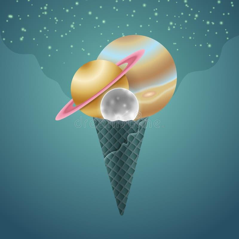 Illustration von Planeten als Portionierern auf Kegel auf blauem Raumhintergrund vektor abbildung
