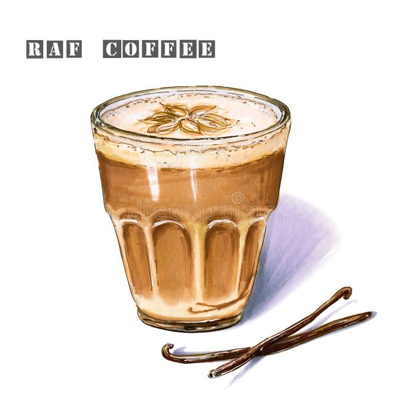 Illustration von raf-Kaffee gewürzt mit Vanille- und Milchschaum in einem Glasbecher vektor abbildung