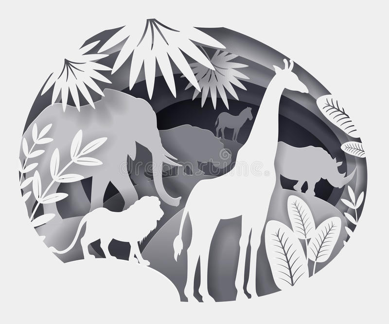 Illustration von Schattenbildern von den afrikanischen Tieren gemacht vom Papier stock abbildung