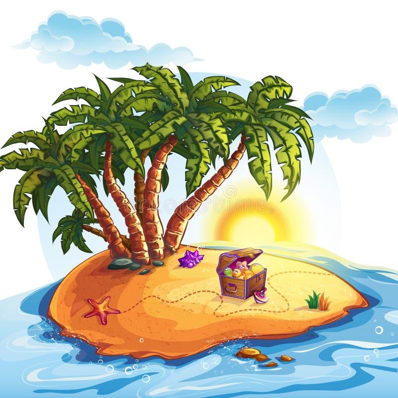 Illustration von Schatz-Insel mit einem Stamm stock abbildung