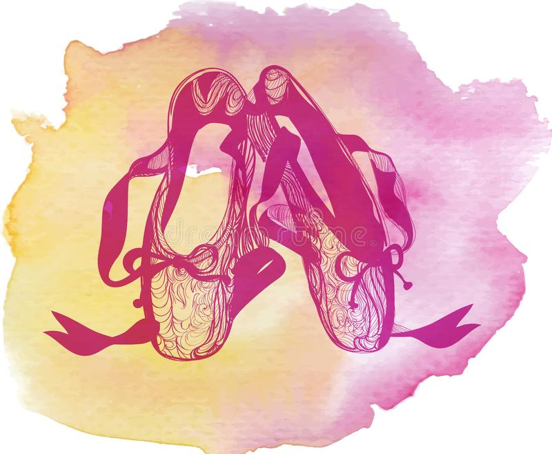 Illustration von Schuhen pointes ein abgetragenen Ballett der Paare vektor abbildung