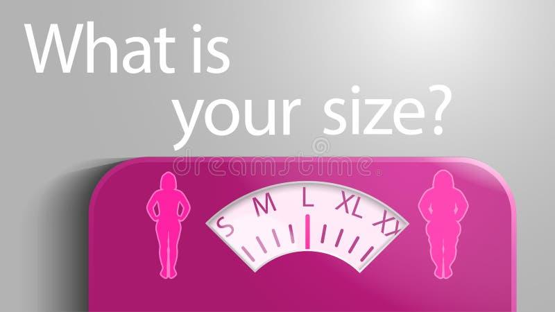 Illustration von Skalen mit einer Skala in Form von Kleidergrößen für Frauen stock abbildung