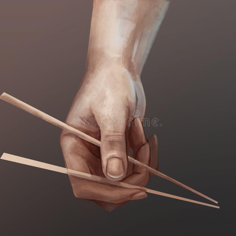 Illustration von Sushistöcken in der Hand lizenzfreie abbildung
