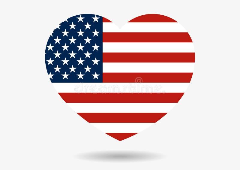 Illustration von USA-Flagge in der Herzform mit Schatten lizenzfreie abbildung