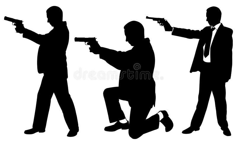 Illustration von verschiedenen Männern mit Gewehren lizenzfreie abbildung