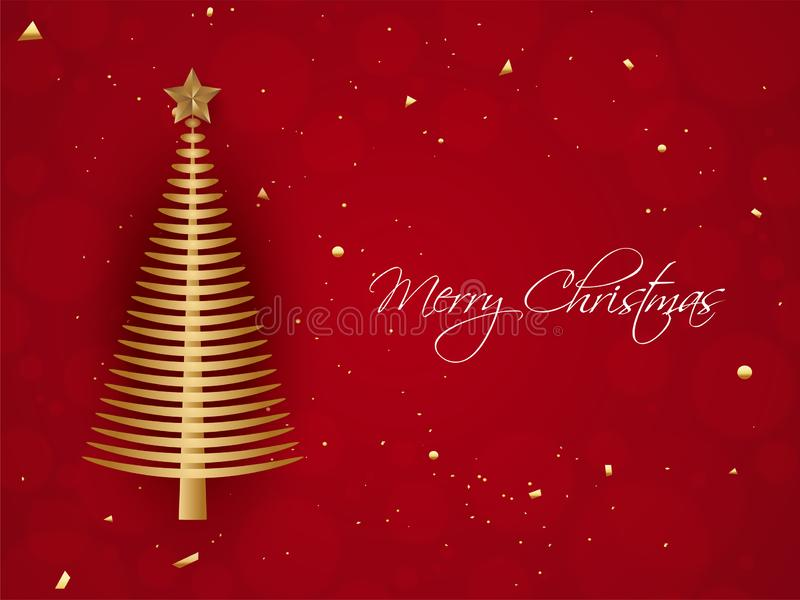 Illustration von Weihnachtsbaum mit Stern auf rotem Hintergrund für fröhliches vektor abbildung