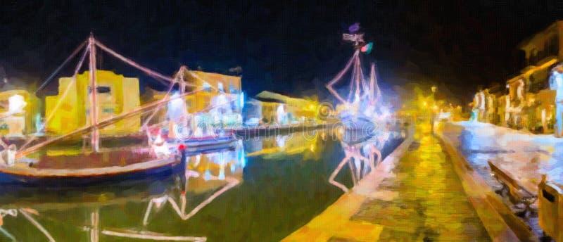Illustration von Weihnachtsdekorationen, -lichtern und -Marine Crib stockfotografie