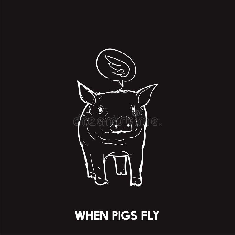Illustration von, wenn Schweine Idiom fliegen lizenzfreie abbildung