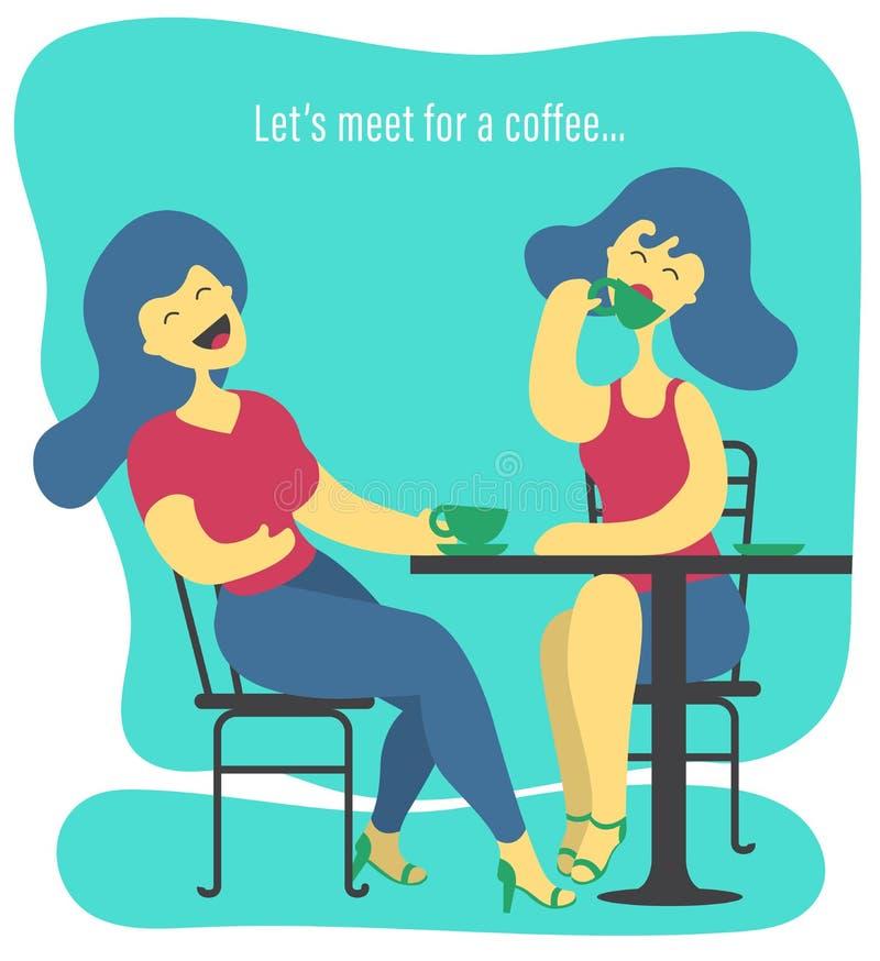 Illustration von zwei Frauen, die in einem Restaurant, trinkender Kaffee sitzen und über das Leben lachen lizenzfreie abbildung
