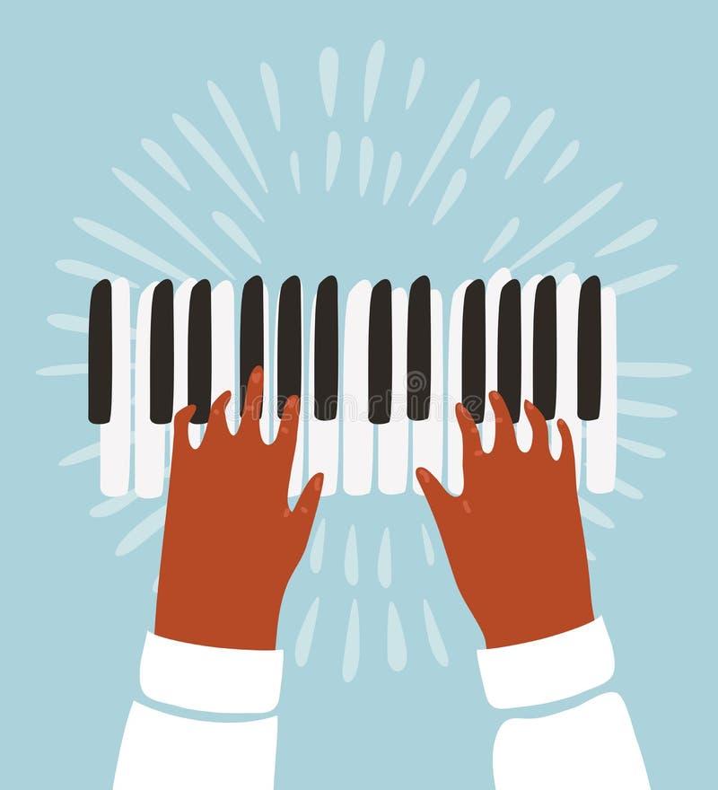 Illustration von zwei Händen, von Klavier und von Musikanmerkungen stock abbildung