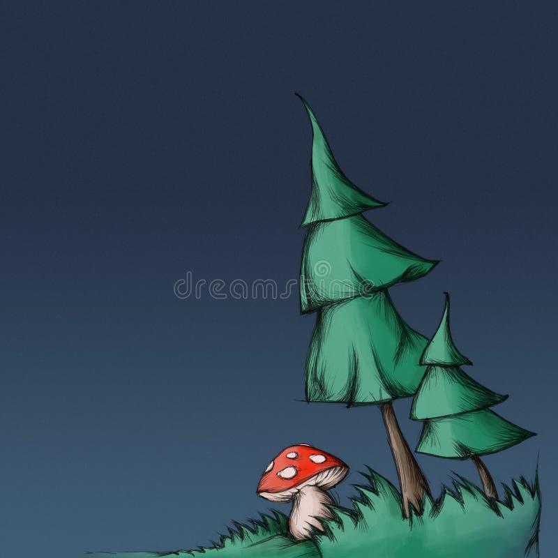 Illustration von zwei Tannenbäumen ein Pilz (Fliegenpilz) stock abbildung